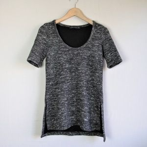 Zara Woman heathered gray vented sweater